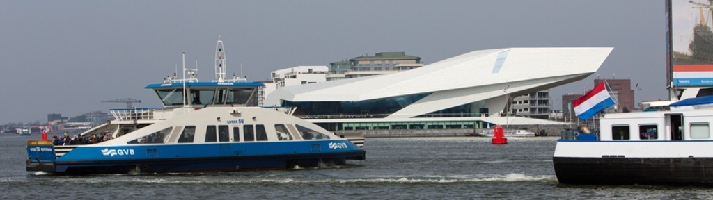 The free ferry to Amsterdam central station day/night