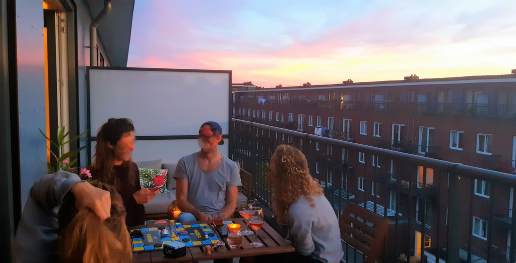 Playing games on our terrace at sunret