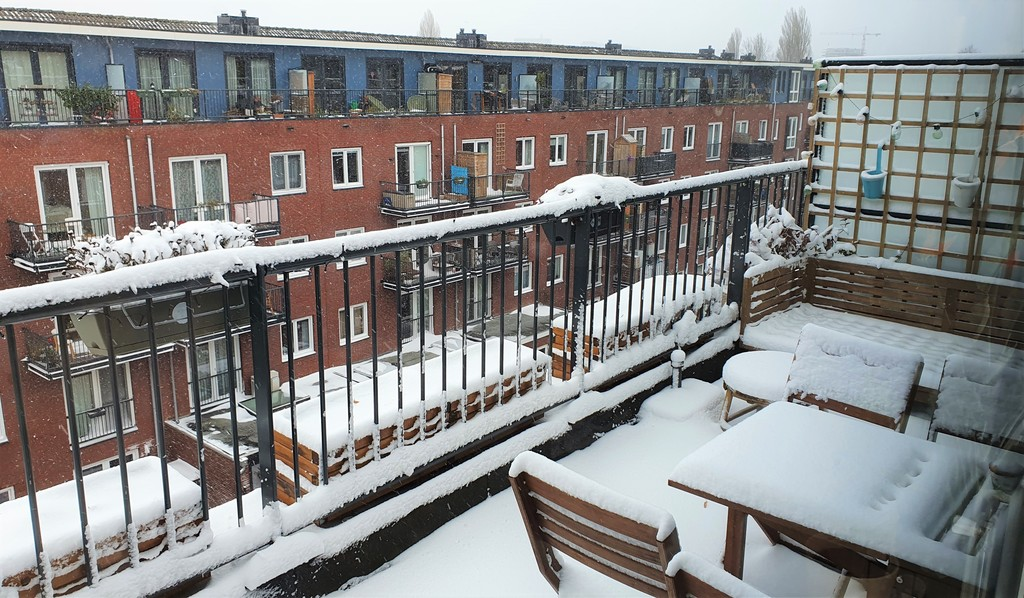 our terrace in the winter covered with snow