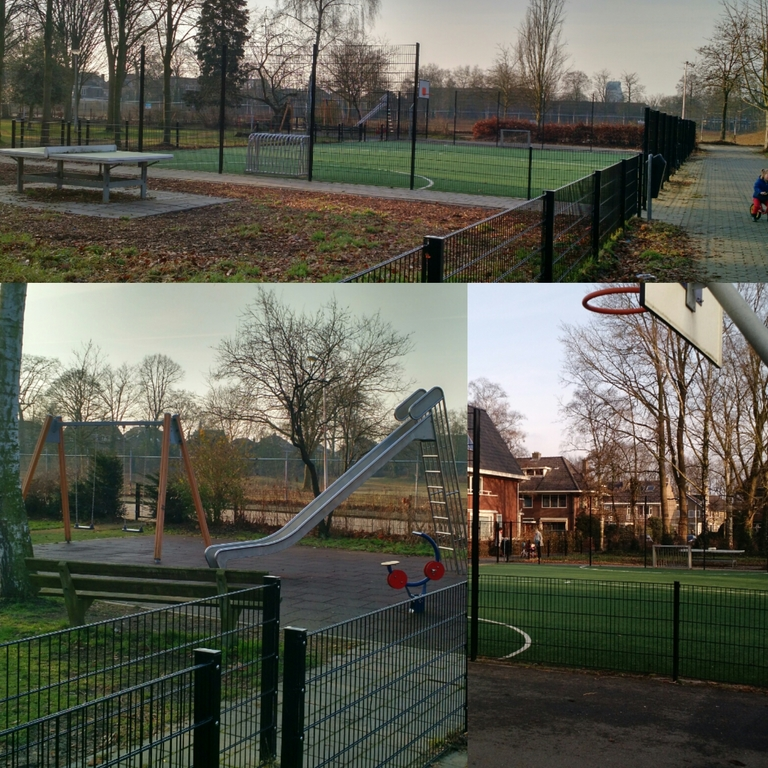 Play-area (swing, slide, basketball, soccer)