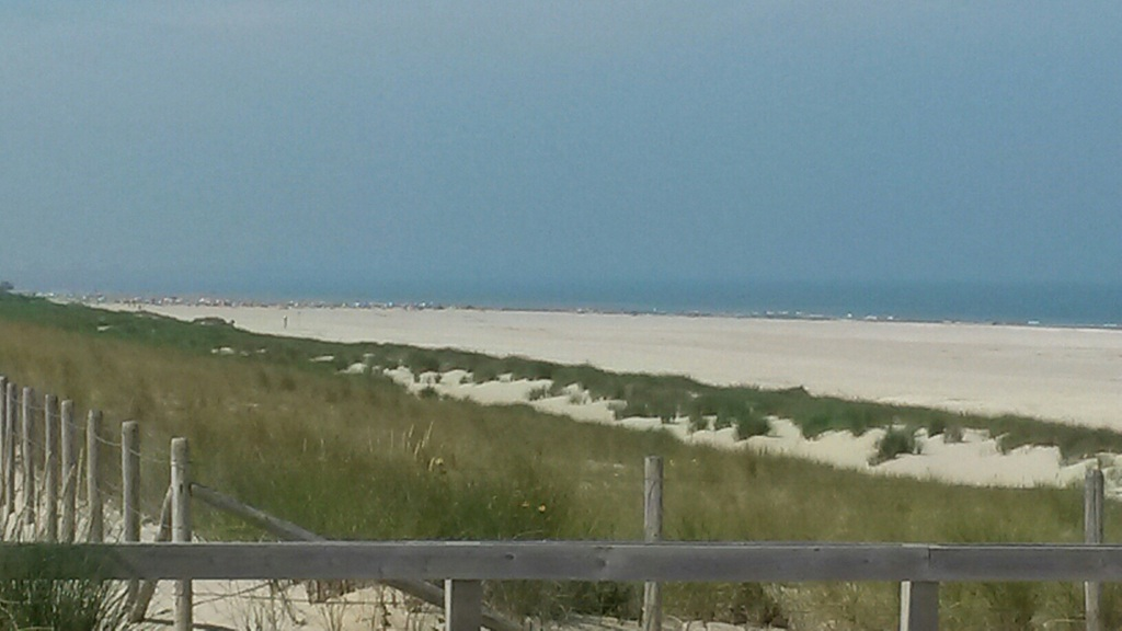 The dunes and beach, 5 km away.
