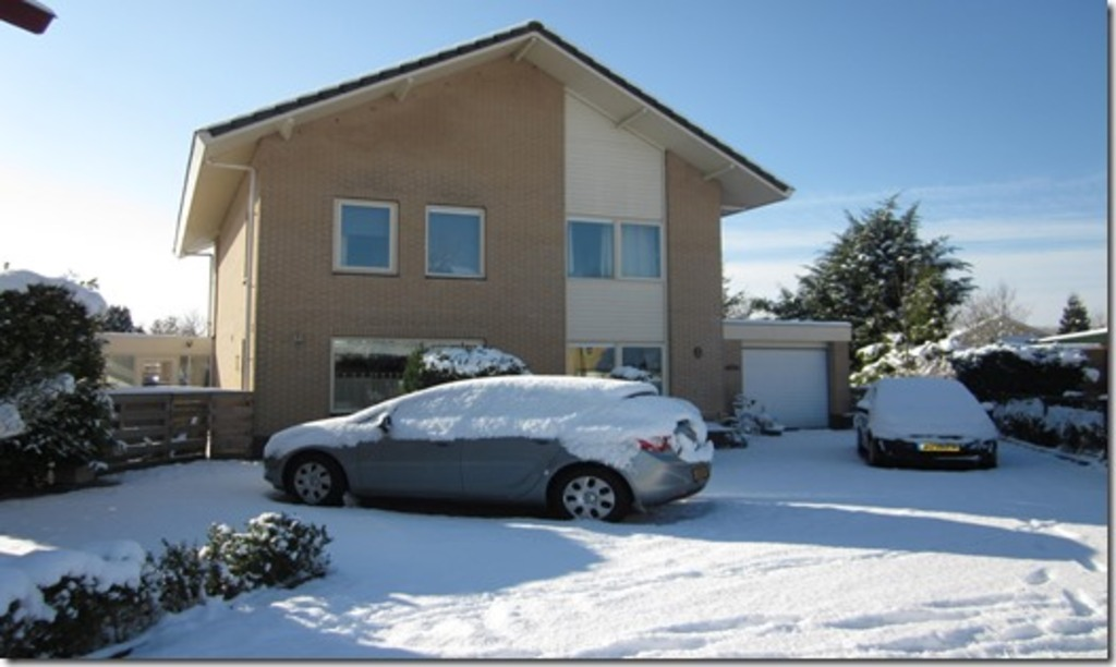 The front of the house in a winter.