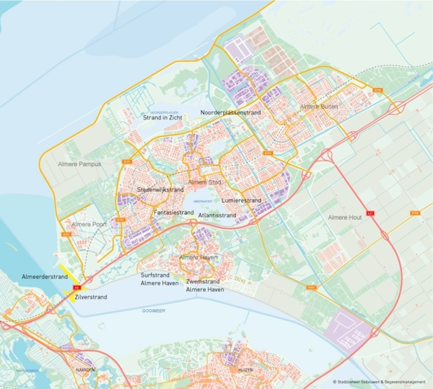 Almere, a young city, 35 kilomters east from Amsterdam, with 5 trainstations and 5 beaches