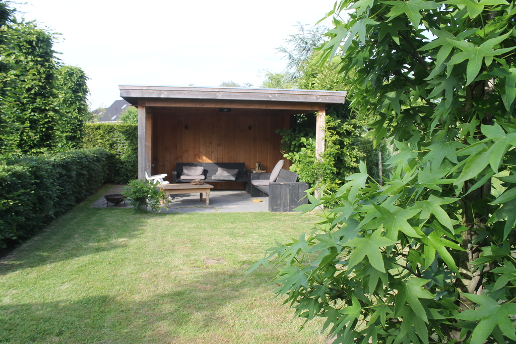 Garden seat with garden shed