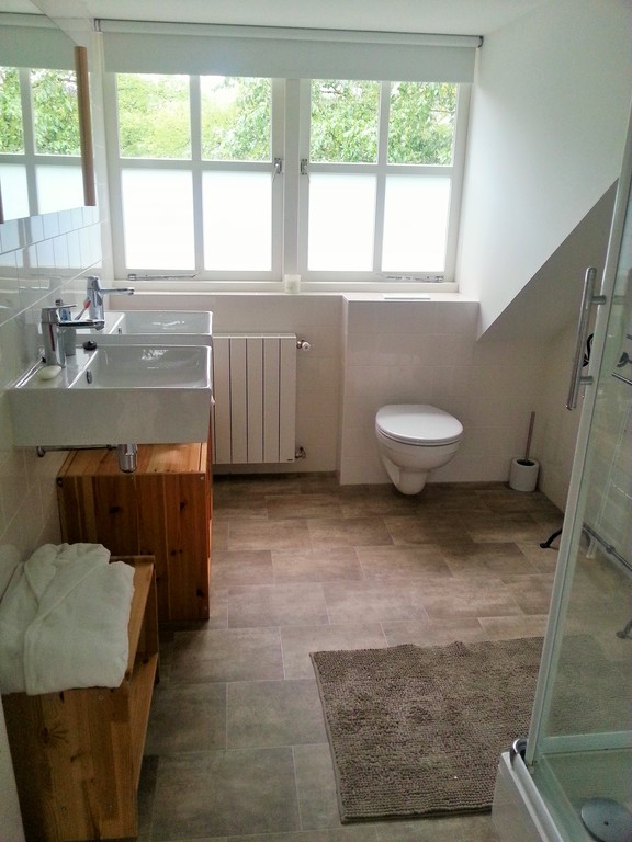 Attic 2nd bathroom: shower, toilet. Bedroom 4 and 5 both access this bathroom directy.