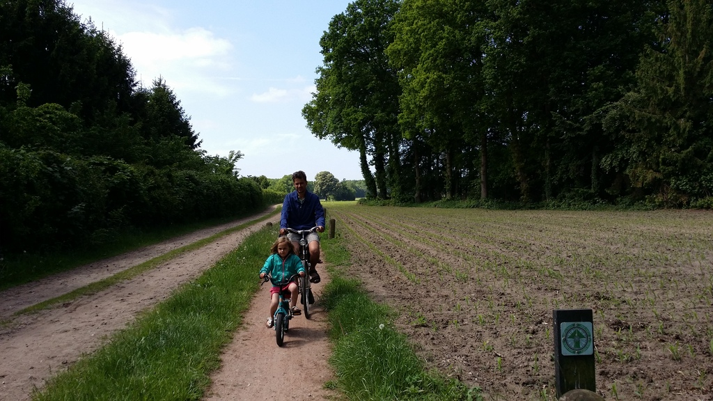 Cycling at bicycle paths, 1 km of our home