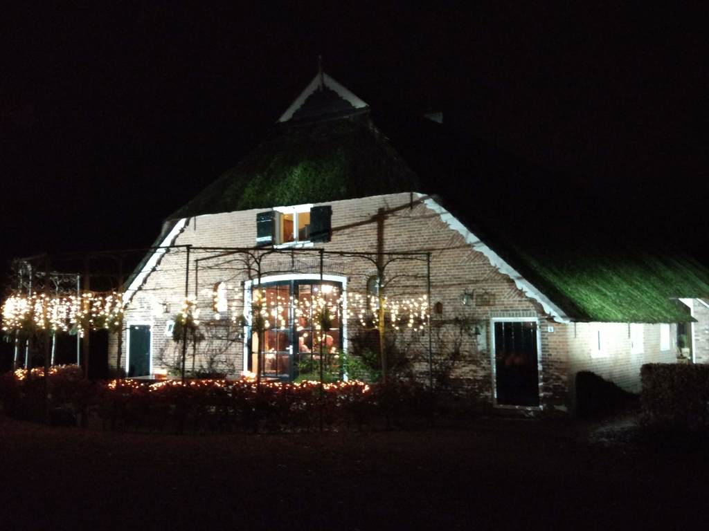 farmhouse from the back in the evening, Christmas time