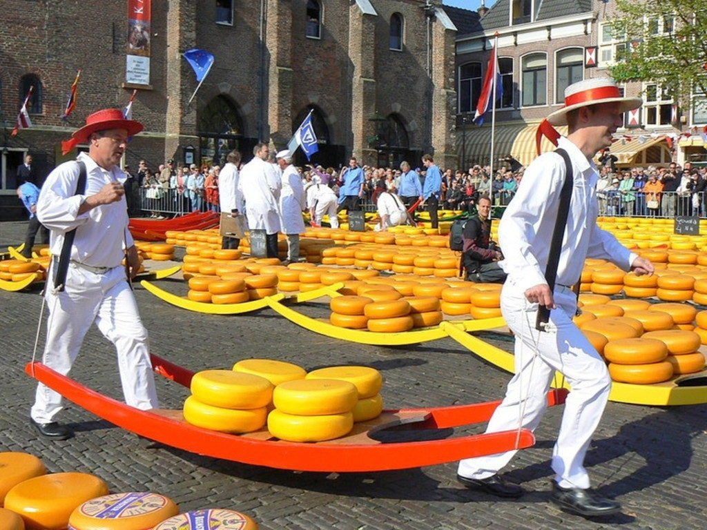Worldfamous cheesemarket in Alkmaar citycentre on Fridaymornings in summertime