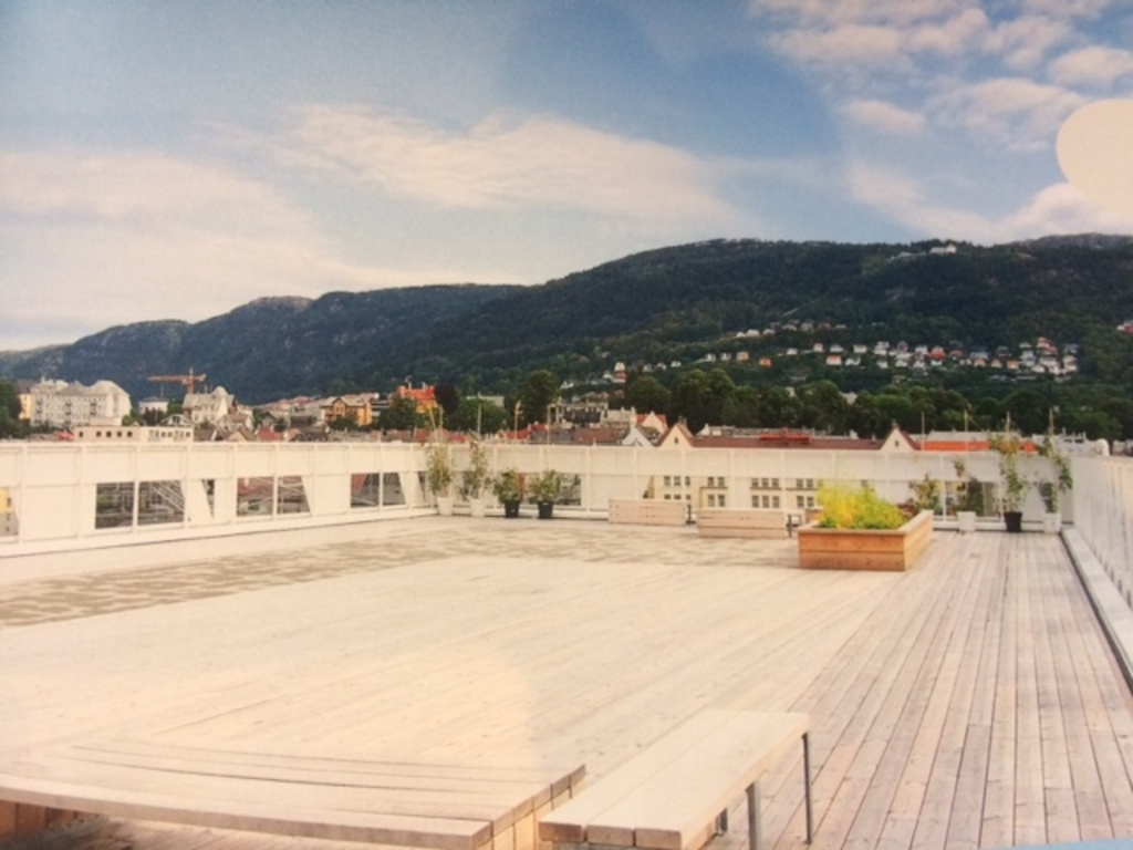 top roof terrace with grand view (old picture, now it contains green plants and sitting groups)