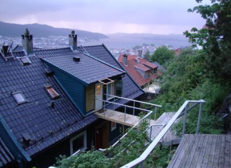 From stairs on backside of house going to the mountain