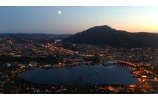 Bergen by night . Wiew from our window.