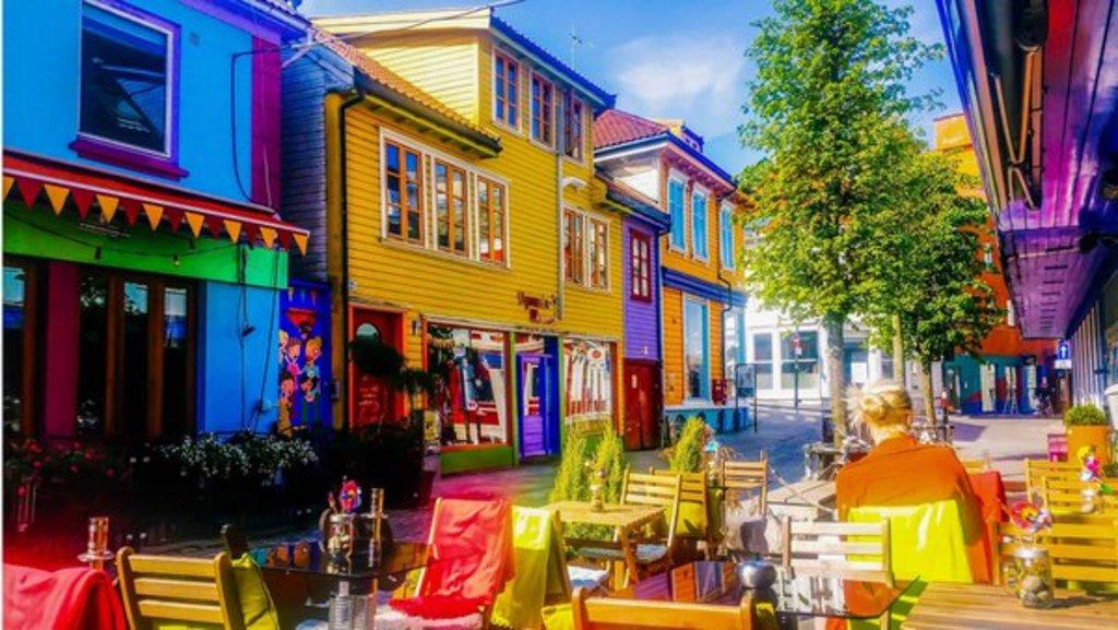 Lively street in Stavanger