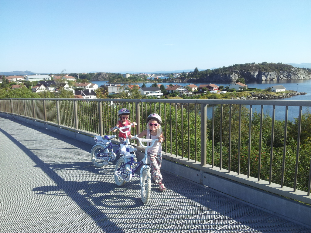 Biking over the bridges to Stavanger City a nice summer day
