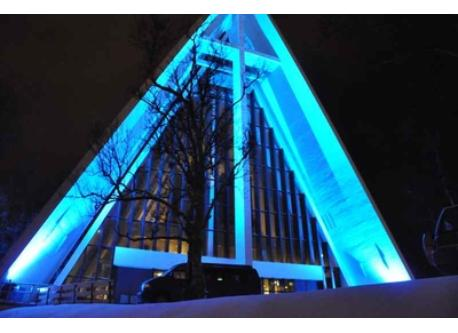 Ishavskatedralen/ Arctic Cathedral. You can see it from our window.