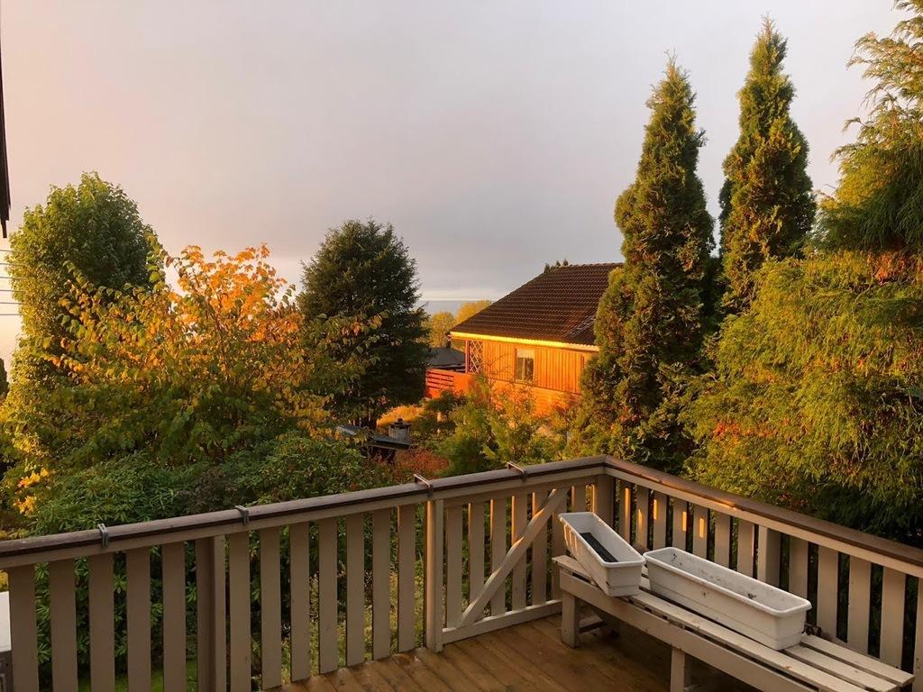 Aussicht von der Terasse im Herbst
