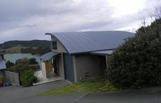 The Boatshed is on a sloped site