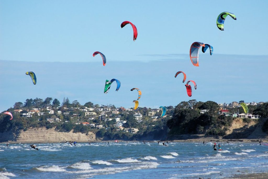 Orewa beach is popular for a wide range of sporting activities.
