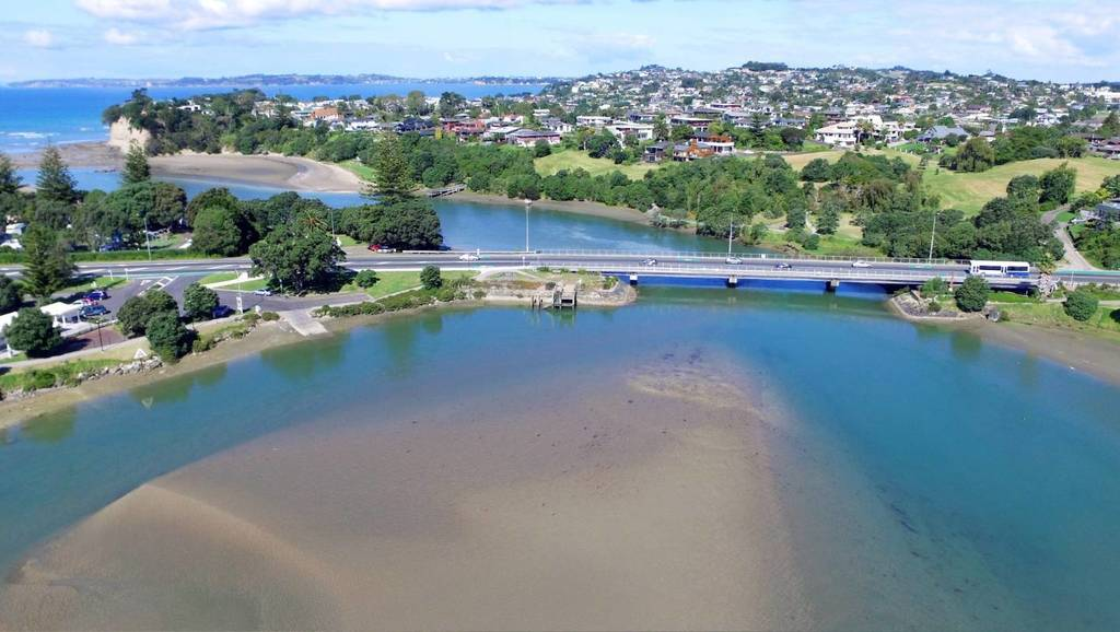 Aerial view of Orewa Estuary.