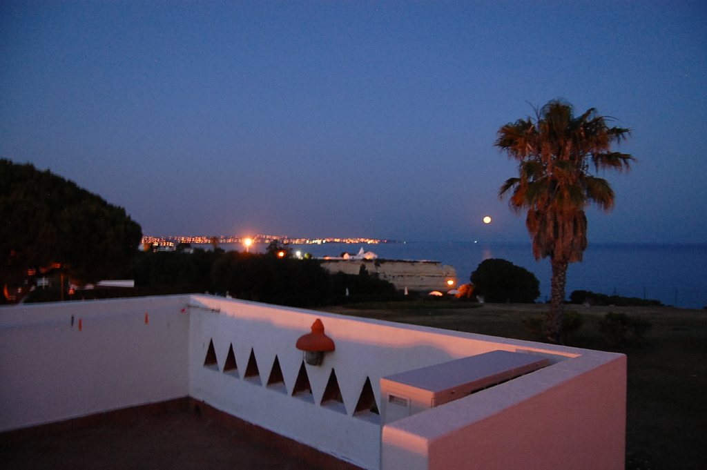 Terrace with an extraordinary large view on the ocean (night picture)