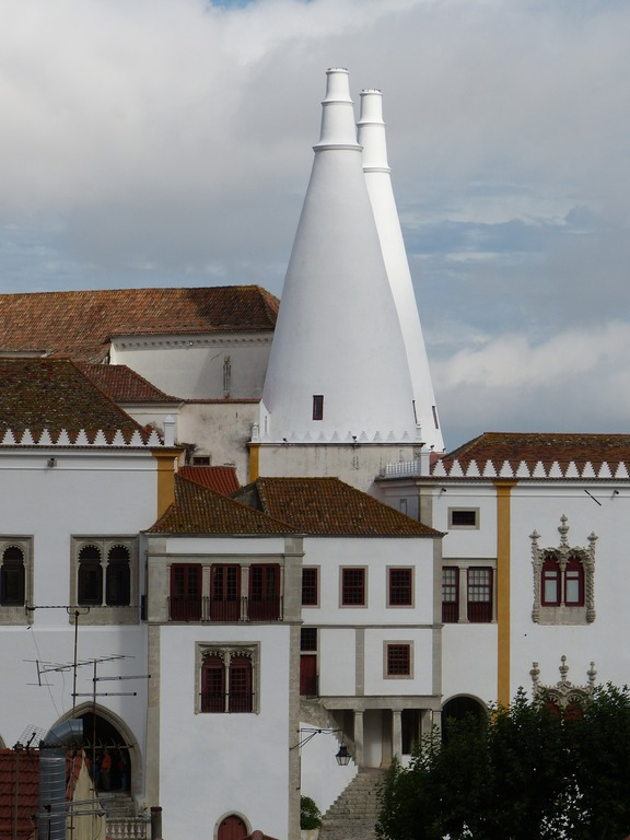 National Palace of Sintra, Hans Christian Anderson described the chimneys as giant champagne bottles.