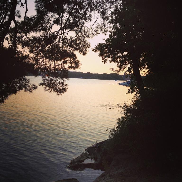 The neighborhood, seaside walk by the sunset