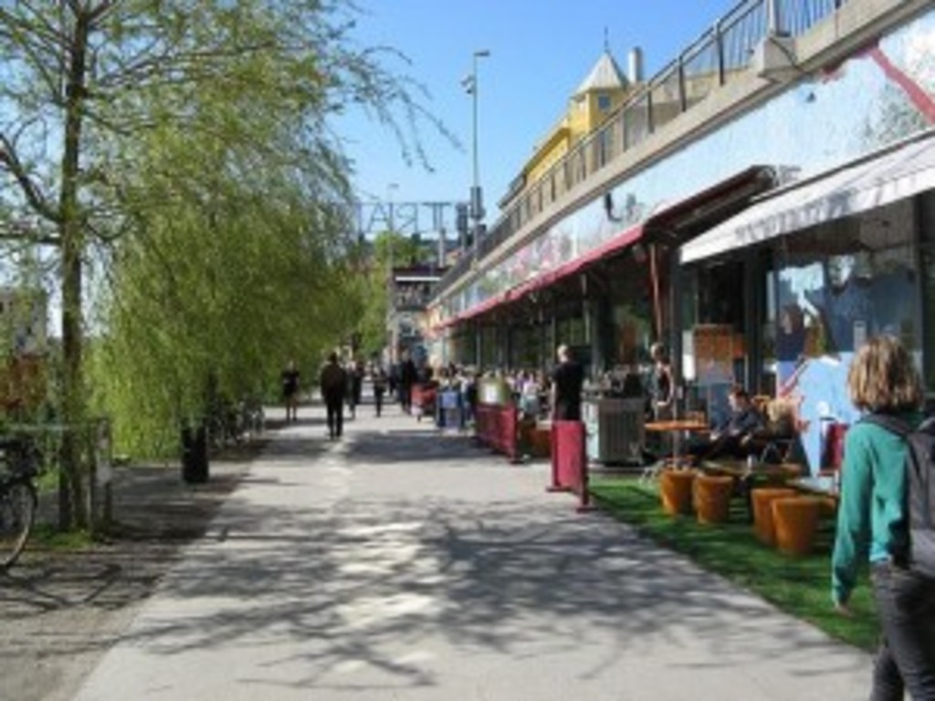 The neigborhood - bars and cafes next to the water