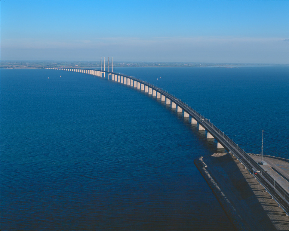 The Öresunds Bridge, connecting Denmark and Sweden. It takes 20 minutes from Malmö City to Copenhagen City.