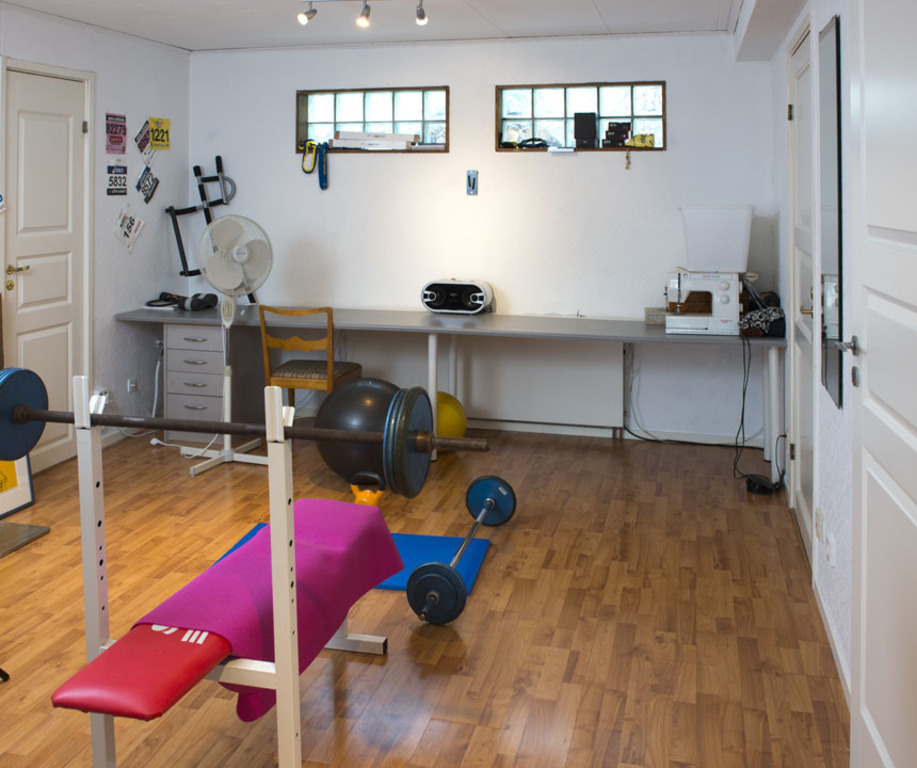 Home gym with bars, dumbells, kettlebells, TRX and treadmill