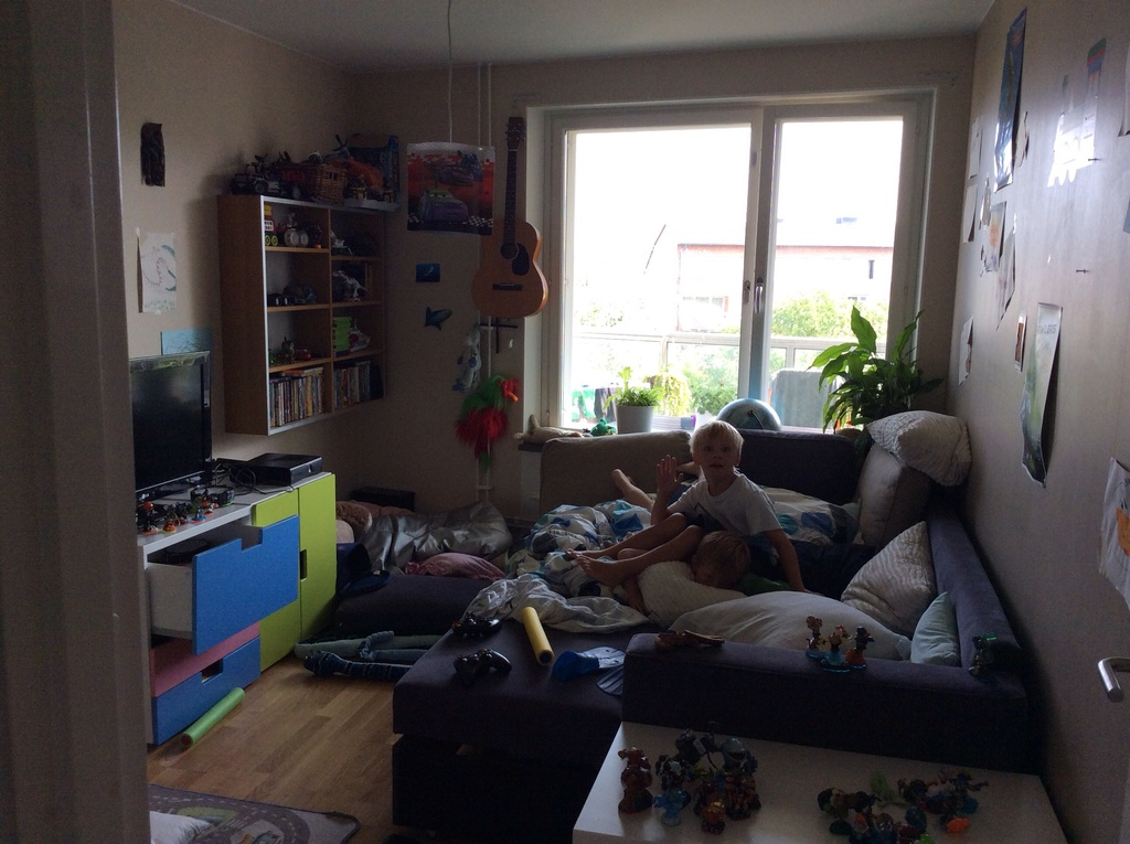 Kids playroom with videogames etc. The sofa can be converted in to a bed