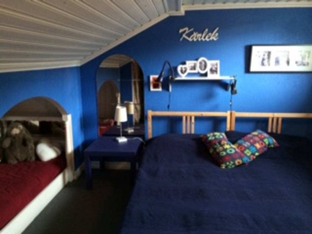 Former kids room( one double bed and one single bed)