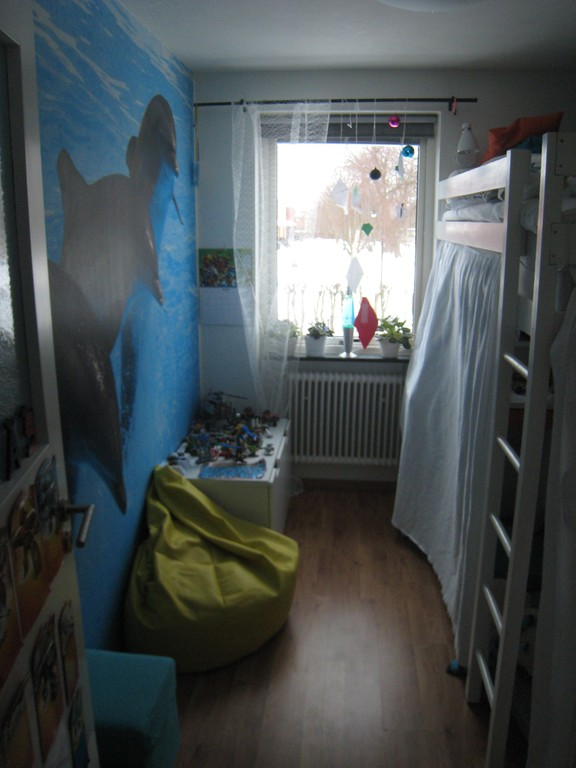 Elias' room. Quite small but comes with a loft bed and complementary dolphins.
