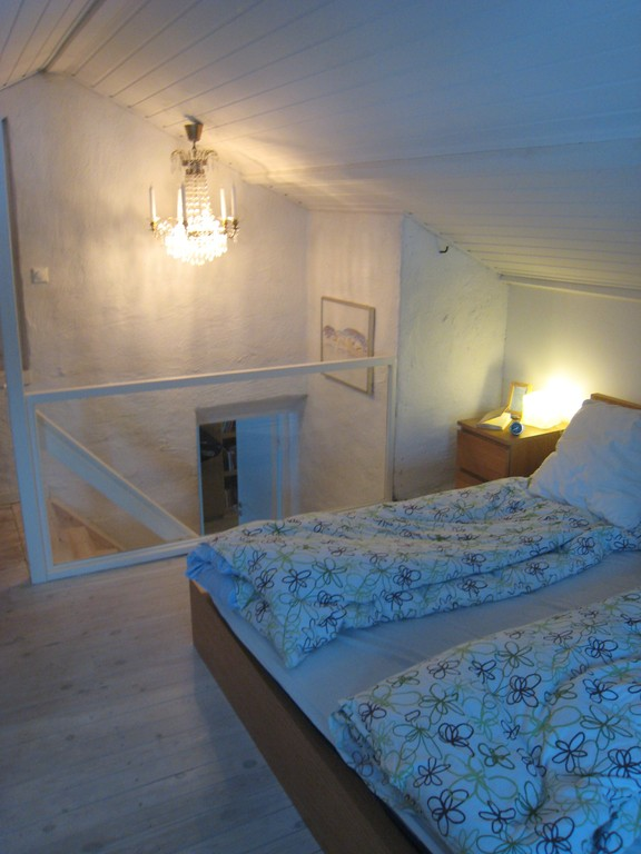 The master bedroom is a renovated attic and actually on the 5th floor of the house.