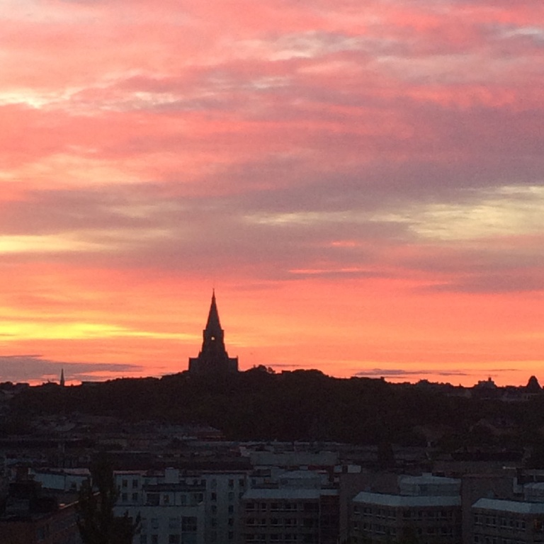 The Stockholm summer night, seen from our window.