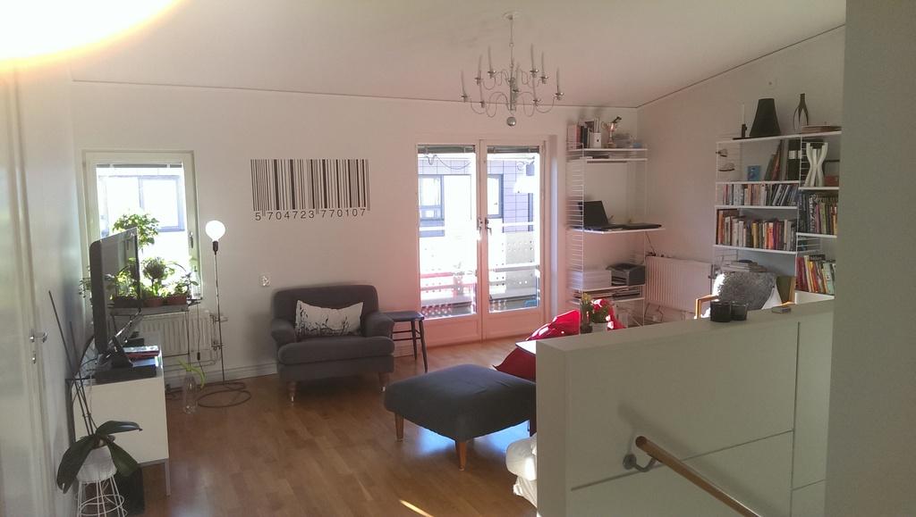 Upper floor living room. The sofa is not in view.