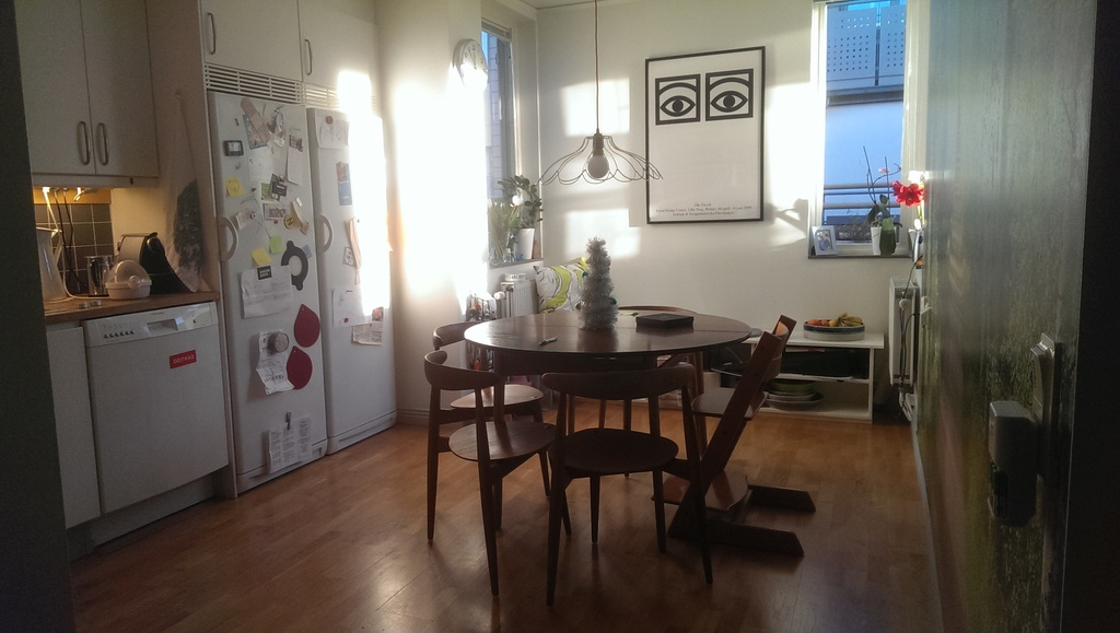 The kitchen has a large Danish design dining table that seats ten people