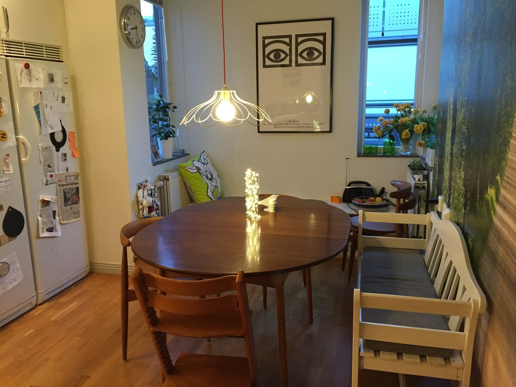 The kitchen dining table seats ten people when fully extended