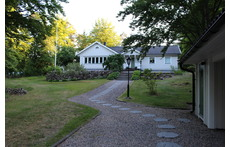 Front view of our house in late evening