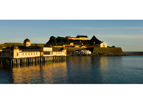 The fortress of Varberg and the open-air swimming house