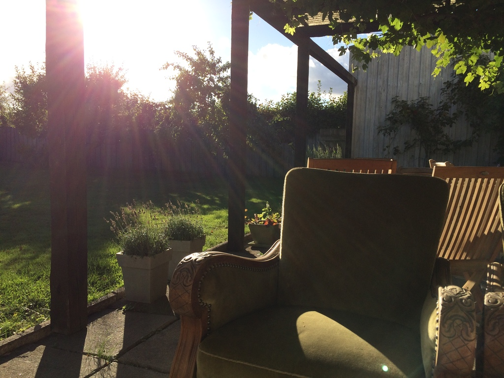 Patio by early evening