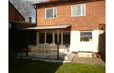 Our house, view from the back, where there is a small garden