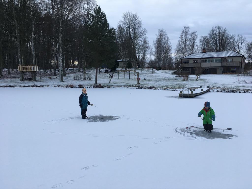 Ice fishing in January.