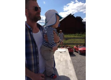 Per and our son at Siggesta Gård - a family destination