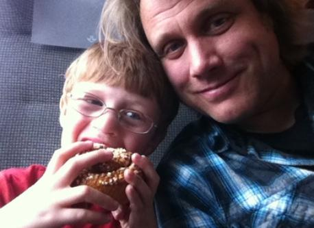 Nisse and Fredrik on the commuter train to Stockholm.