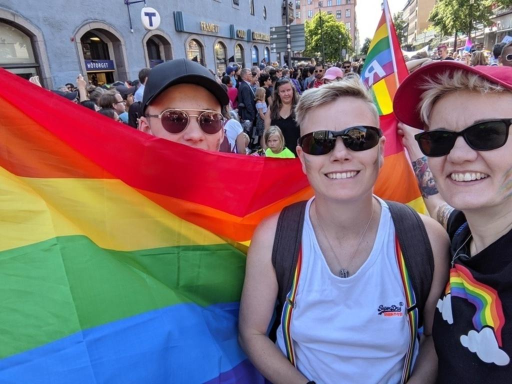 Oskar, Jenny and Lena at Sthlm Pride 2019! Yey!