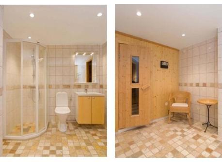 Bathroom with sauna in basement