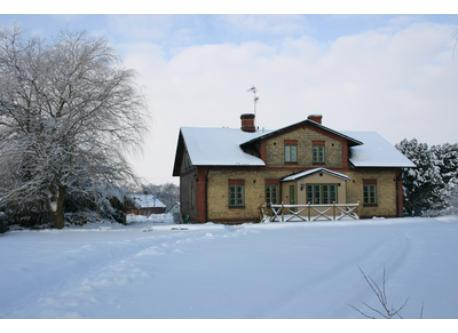 House and garden in winter