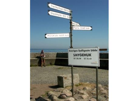 Smygehuk, the most south you can come in Sweden. In this harbour you can buy smoked fish and visit the touristoffice.