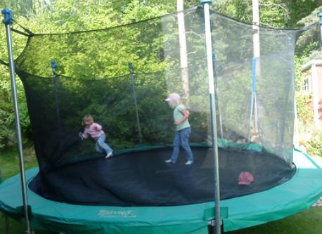 We have a large trampoline with safety net.