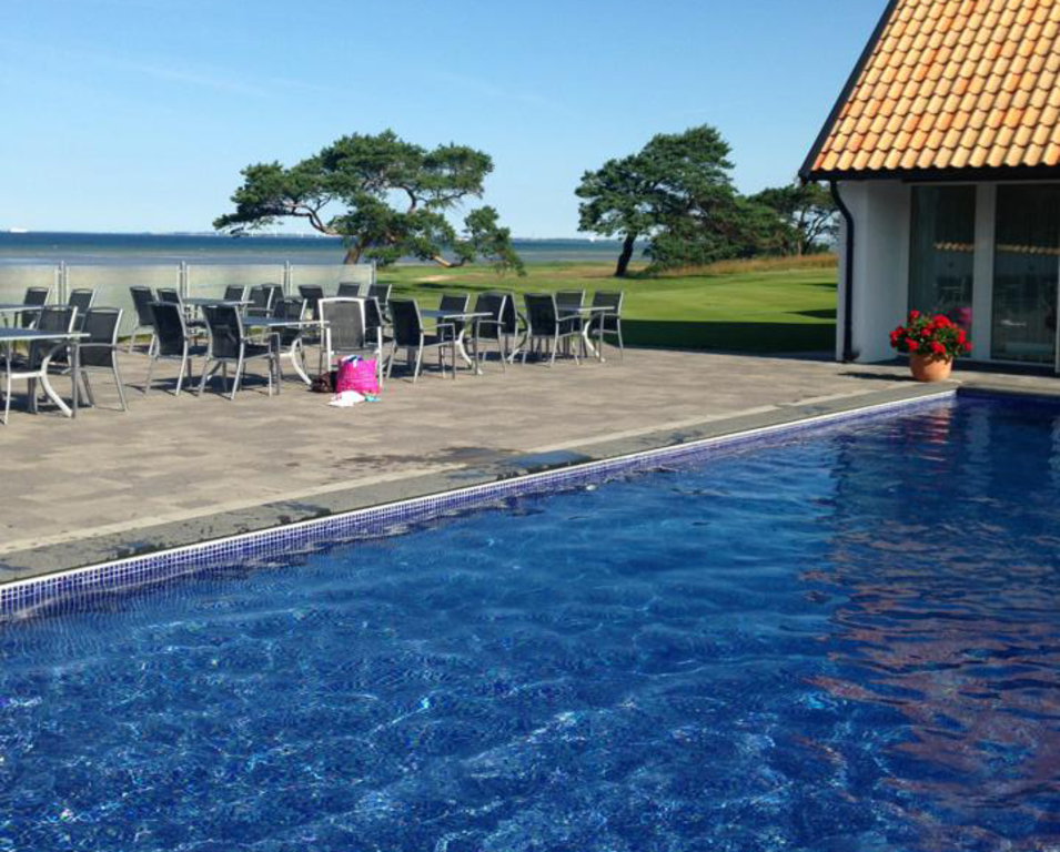 The pool by the club house with a amazing view over the Öresund strait and Copenhagen/Denmark