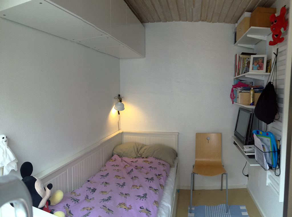 Small bedroom downstairs with a  pull-out double bed